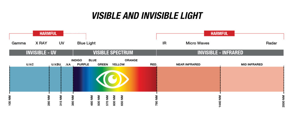 the spectrum of visible and invisible light